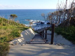 葡国人上陸の地 海岸へ降りる階段