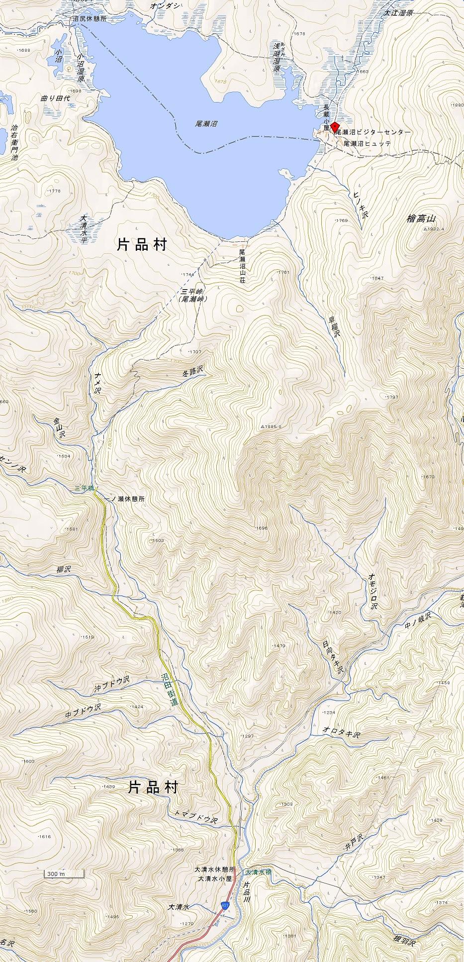 大清水~尾瀬沼ルート地図