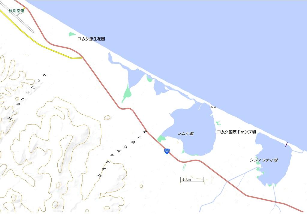 コムケ湖(国土地理院地図閲覧サービスより)