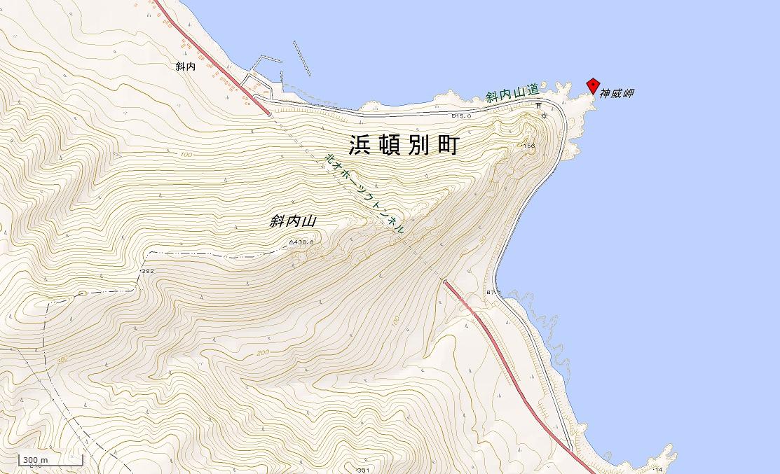 北見神威岬(国土地理院地図閲覧サービスより)