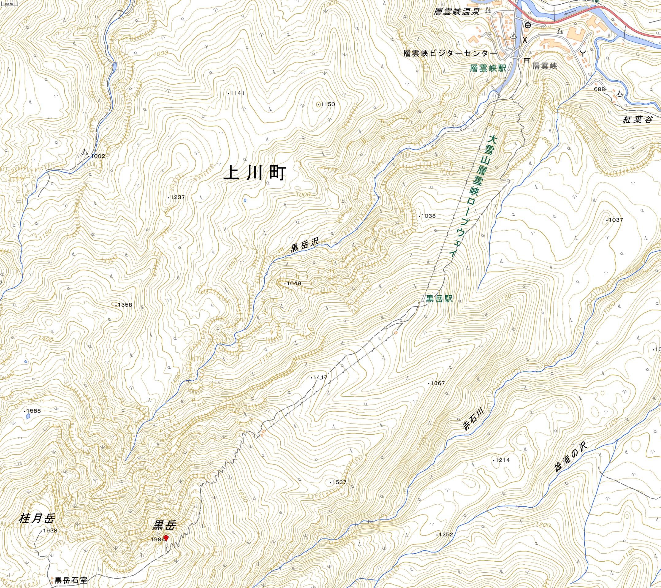 黒岳登山ルート(国土地理院地図閲覧サービスより)