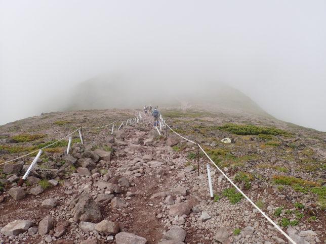 黒岳山頂から石室へ向かう道