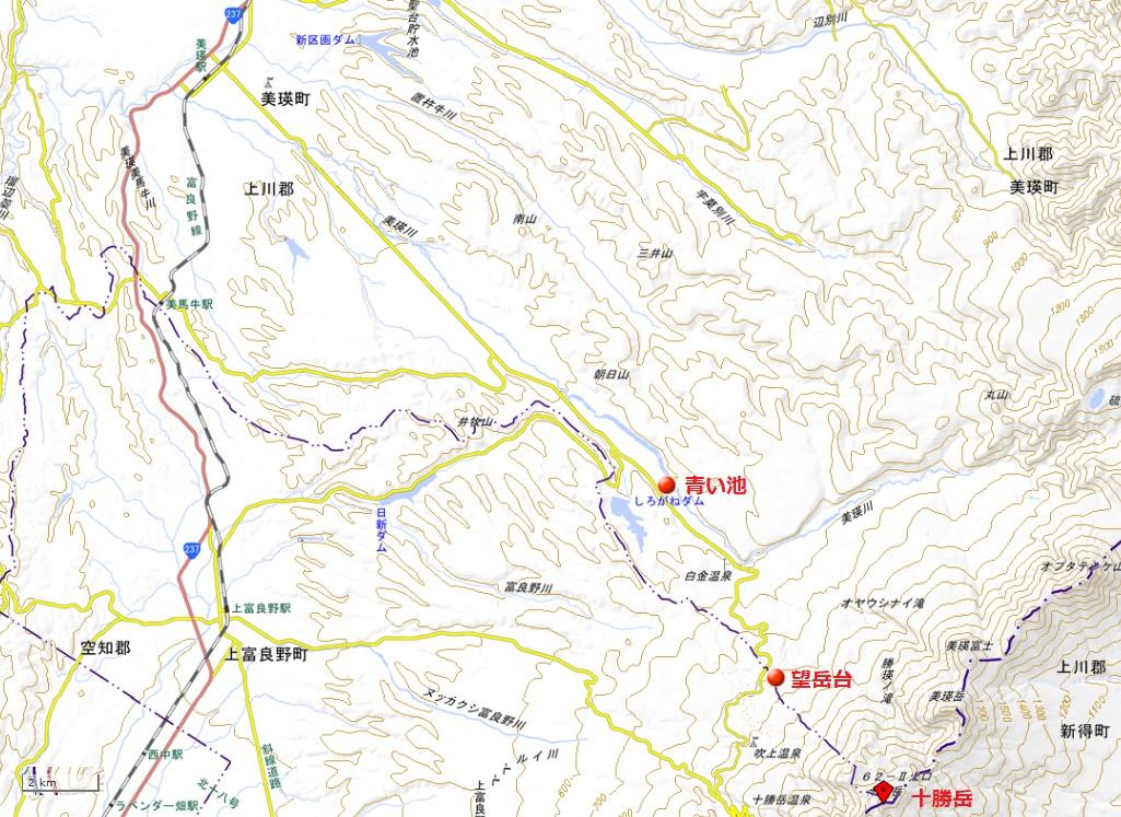 青い池地図(国土地理院地図閲覧サービスより
