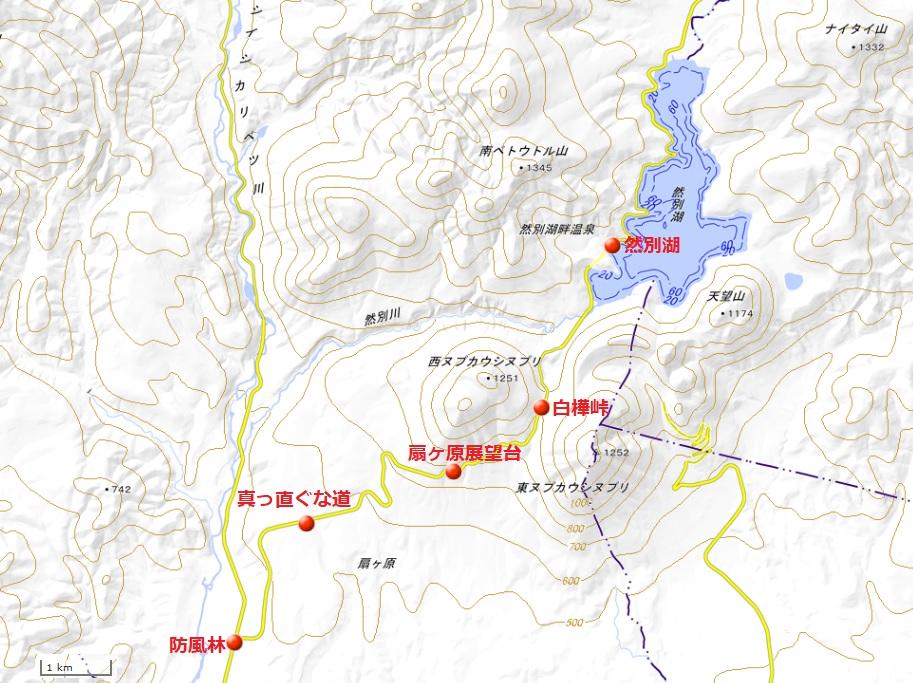 然別湖地図(国土地理院地図閲覧サービスより)