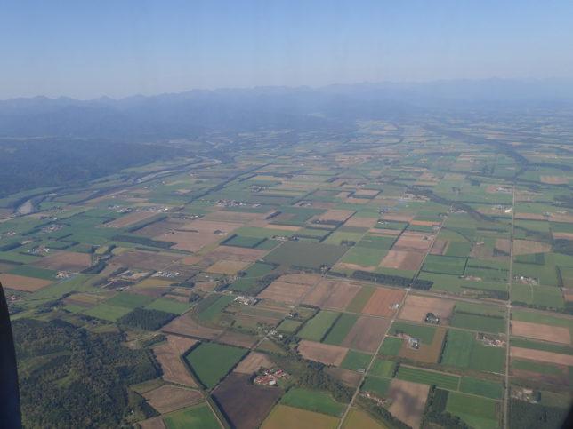 飛行機から見た十勝平野