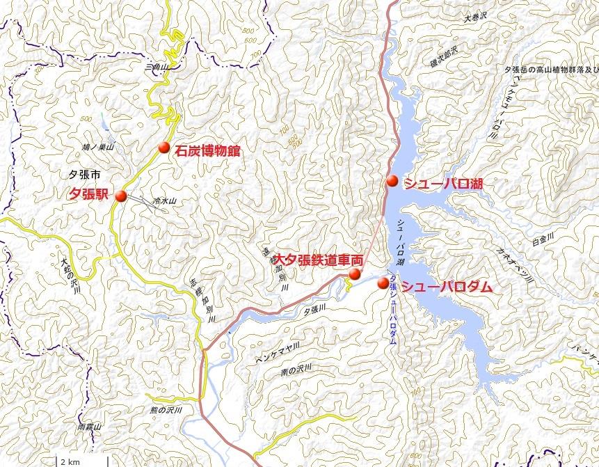 シューパロ湖地図(国土地理院地図閲覧サービスより)