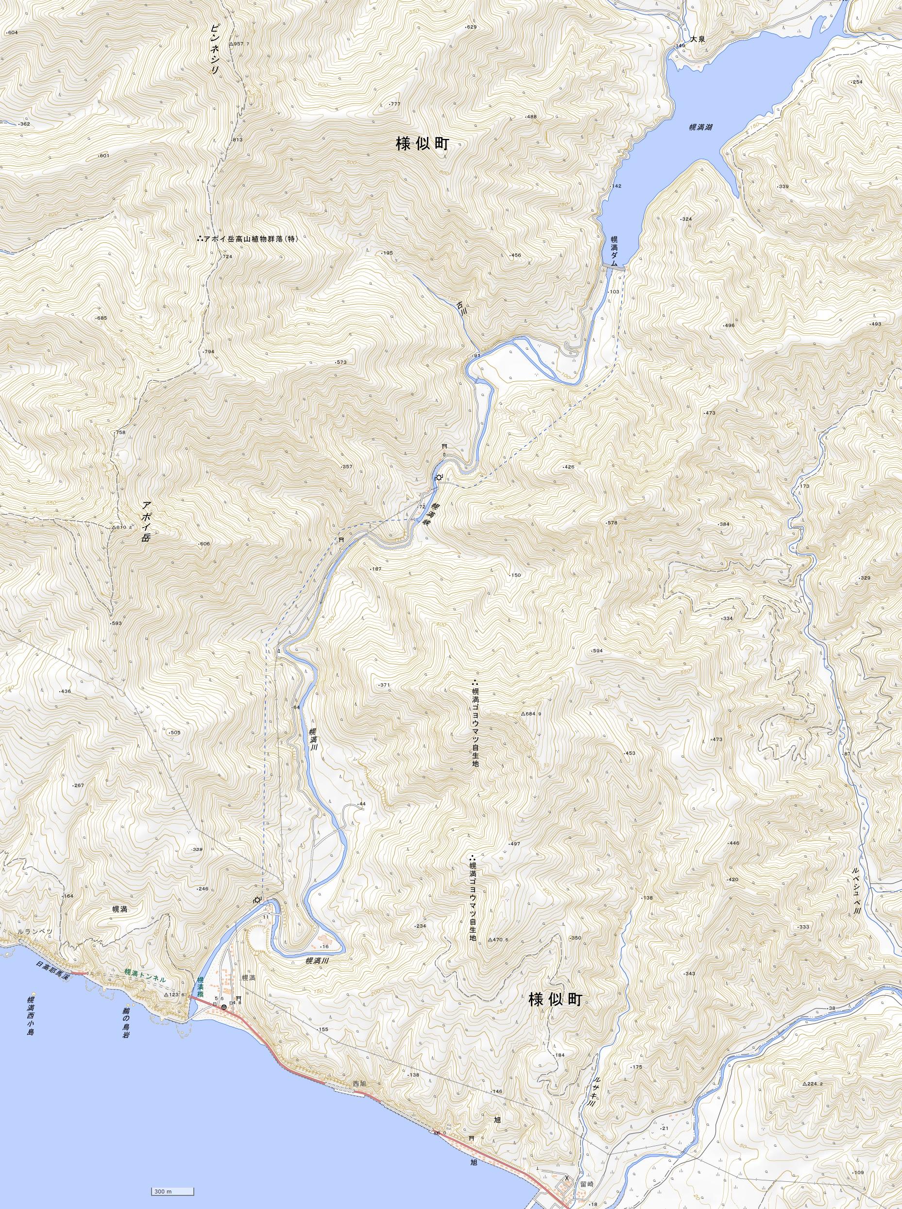 幌満ダム地図(国土地理院地図閲覧サービスより)