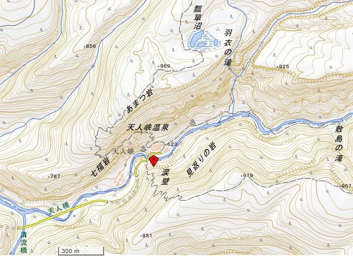 天人峡地図(国土地理院地図閲覧サービスより)