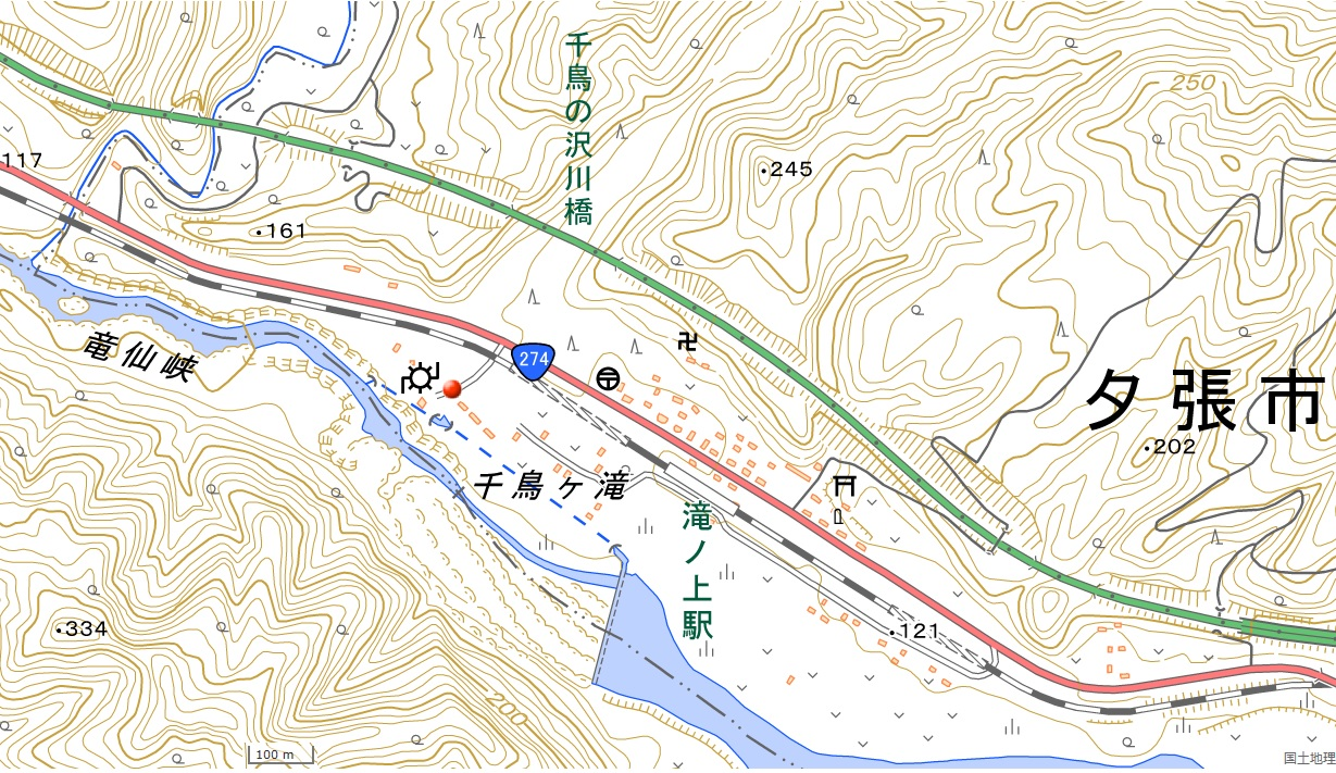 滝上公園地図(国土地理院地図閲覧サービスより)