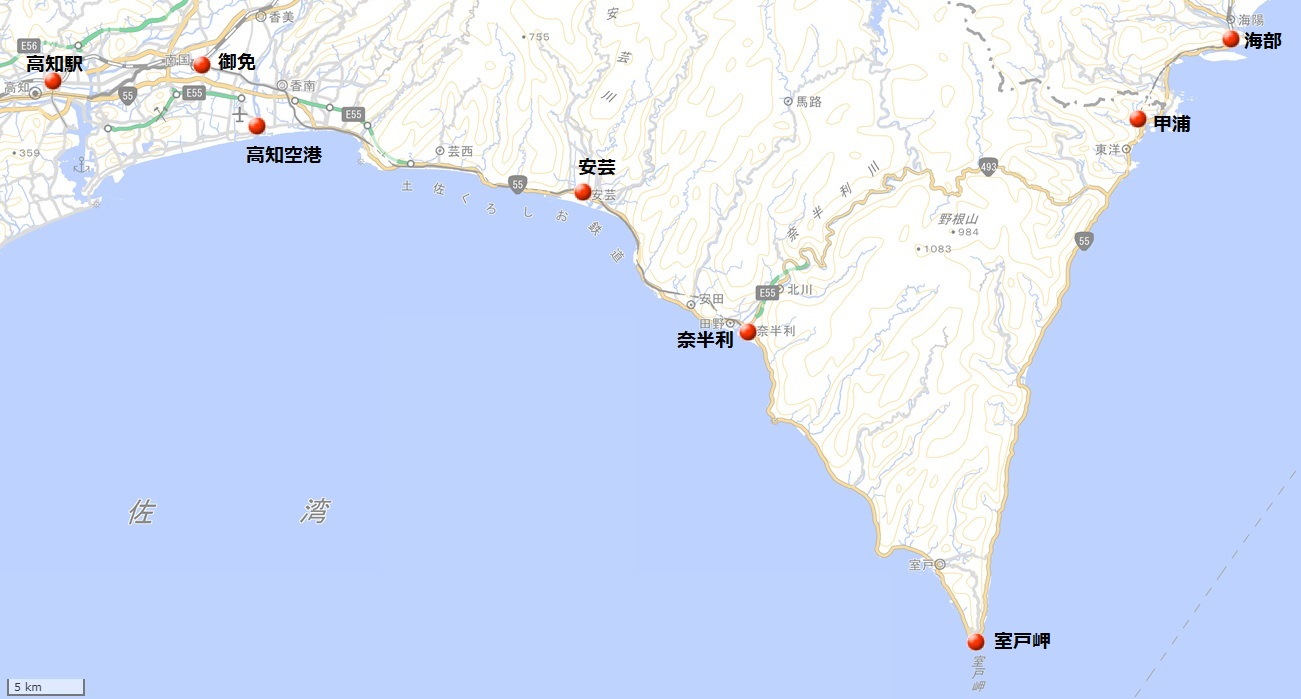 室戸岬地図(国土地理院地図閲覧サービスより)