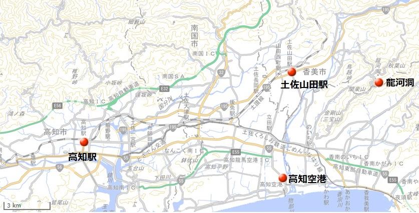 龍河洞(国土地理院地図閲覧サービスより)