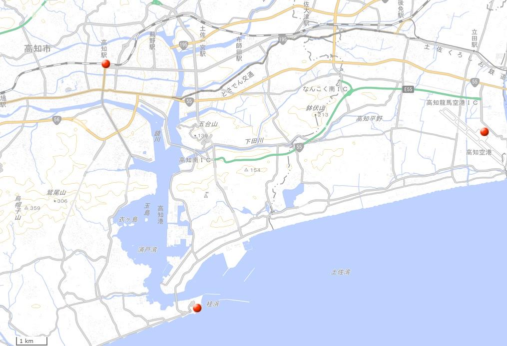 桂浜地図(国土地理院地図閲覧サービスより)